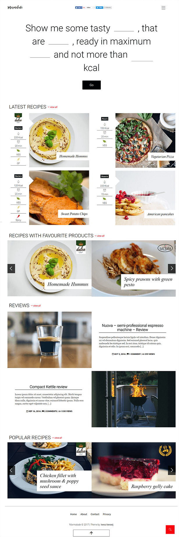 Marmalade - Modern Food Blog theme for WordPress